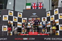 Podium from left: Eugene Laverty, Jonathan Rea and Leon Camier
