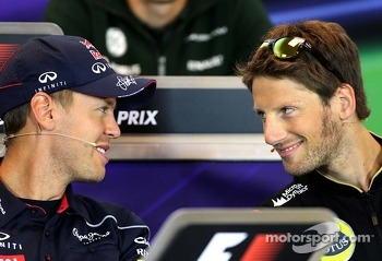 Sebastian Vettel, Red Bull Racing and Romain Grosjean, Lotus F1 Team at the press conference