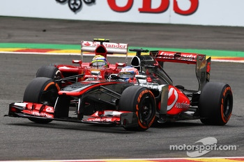 Jenson Button, McLaren and Felipe Massa, Ferrari
