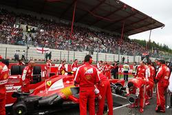 Felipe Massa, Ferrari on the grid as Greenpeace protest against race title sponsors Shell on the main grandstand