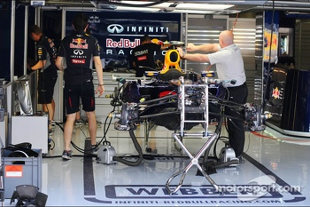 Red Bull Racing RB9 prepared in the pits