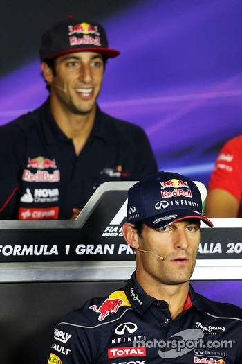 Mark Webber, Red Bull Racing and Daniel Ricciardo, Scuderia Toro Rosso in the FIA Press Conference