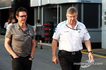 (L to R): Andrew Shovlin, Mercedes AMG F1 Engineer with Ross Brawn, Mercedes AMG F1 Team Principal