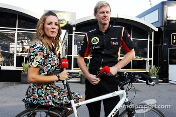 Natalie Pinkham, Sky Sports Presenter and Andy Stobart, Lotus F1 Team Press Officer