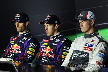 Qualifying top three in the FIA Press Conference, Red Bull Racing, second; Sebastian Vettel, Red Bull Racing, pole position; Nico Hulkenberg, Sauber, third