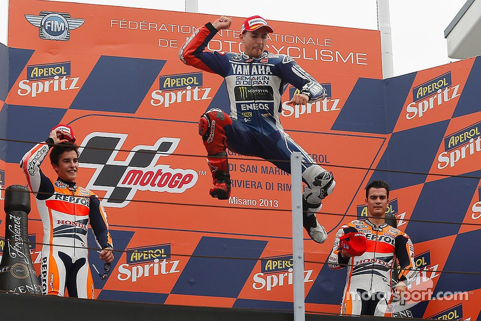 Race winner Jorge Lorenzo, Yamahaa Factory Racing, second place Marc Marquez, Repsol Honda Team, third place Dani Pedrosa, Repsol Honda Team