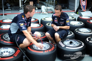 Red Bull Racing mechanics mark up Pirelli tyres