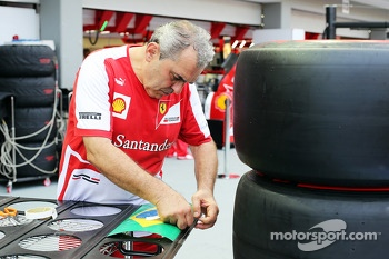 Ferrari mechanic with pit board for Felipe Massa, Ferrari