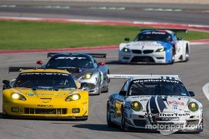 #22 Alex Job Racing Porsche 911 GT3 Cup: Cooper MacNeil, Jeroen Bleekemolen #4 Corvette Racing Chevrolet Corvette C6 ZR1: Oliver Gavin, Tom Milner