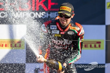 Eugene Laverty celebrating on the podium