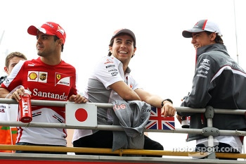 (L to R): Felipe Massa, Ferrari with Sergio Perez, McLaren and Esteban Gutierrez, Sauber on the drivers parade