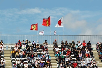 Fans and Ferrari flags