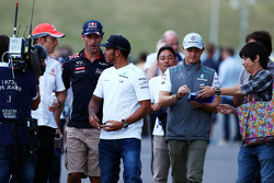 (L to R): Jenson Button, McLaren with Mark Webber, Red Bull Racing, Lewis Hamilton, Mercedes AMG F1, and Nico Rosberg, Mercedes AMG F1