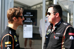 (L to R): Romain Grosjean, Lotus F1 Team with Eric Boullier, Lotus F1 Team Principal