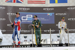Race winner Alexander Rossi, second place Jolyon Palmer, third place Marcus Ericsson
