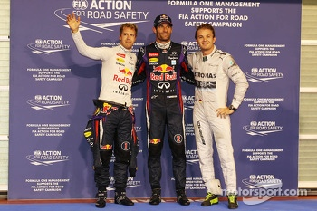 Qualifying top three in parc ferme, Sebastian Vettel, Red Bull Racing, second; Mark Webber, Red Bull Racing, pole position; Nico Rosberg, Mercedes AMG F1, third