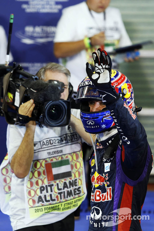 Mark Webber, Red Bull Racing celebrates his pole position in parc ferme