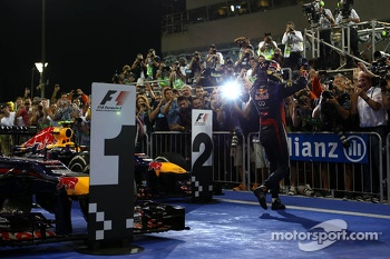 1st place Sebastian Vettel, Red Bull Racing, 2nd place Mark Webber, Red Bull Racing