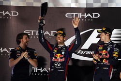 Mark Webber, Red Bull Racing celebrates his second position on the podium with race winner Sebastian Vettel, Red Bull Racing (Right)