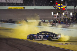 NASCAR Sprint Cup Series 2013 champion 2013 Jimmie Johnson, Hendrick Motorsports Chevrolet celebrates celebrates