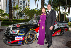 NASCAR Camping World Truck Series champion owner Kyle Busch with his wife Samantha Sarcinella