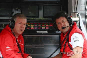 (L to R): Andy Webb, Marussia F1 Team CEO with Dave O'Neill, Marussia F1 Team Manager