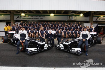 (L to R): Pastor Maldonado, Williams; Susie Wolff, Williams Development Driver; Frank Williams, Williams Team Owner; Claire Williams, Williams Deputy Team Principal; and Valtteri Bottas, Williams FW35, in a team photograph