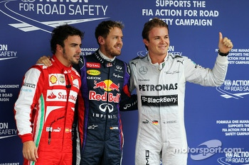 Qualifying top three: Nico Rosberg, Mercedes AMG F1, second; Sebastian Vettel, Red Bull Racing, pole position; Fernando Alonso, Ferrari, third