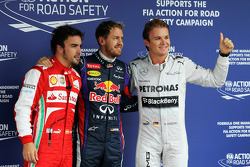 Qualifying top three: Nico Rosberg, Mercedes AMG F1, second; Sebastian Vettel, Red Bull Racing, pole position; Fernando Alonso, Ferrari, third