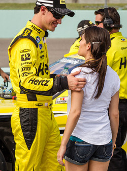 Joey Logano with his girlfriend