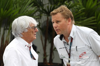 (L to R): Bernie Ecclestone, CEO Formula One Group, with Jonathan Jonathan Nicholas, FOM Television Executive Producer