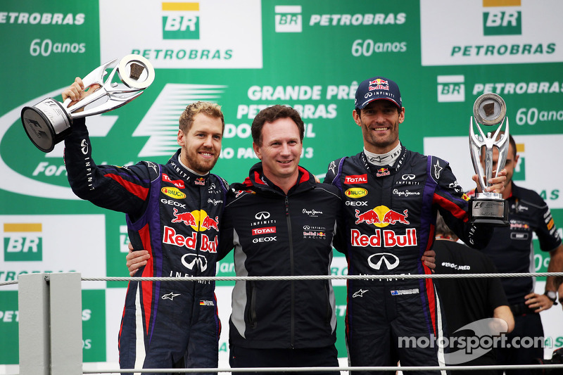 (L to R): Race winner Sebastian Vettel, Red Bull Racing celebrates with Christian Horner, Red Bull Racing Team Principal and second placed Mark Webber, Red Bull Racing, celebrating his final GP
