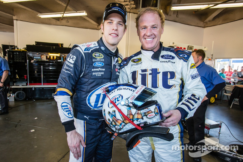 Rusty Wallace Ford >> Rusty Wallace after his demo run with the #2 Team Penske Ford, with Brad Keselowski, Team Penske ...