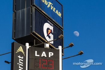Day time moon over Daytona International Speedway