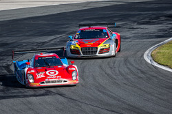 #02 Chip Ganassi Racing Riley DP Ford EcoBoost: Tony Kanaan, Kyle Larson, Marino Franchitti, Scott Dixon and #45 Flying Lizard Motorsports Audi R8 LMS: Nelson Canache, Spencer Pumpelly, Tim Pappas, Markus Winkelhock