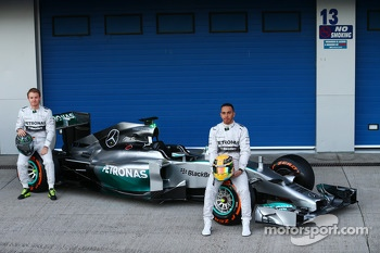 Lewis Hamilton and Nico Rosberg unveil the Mercedes AMG F1 W05