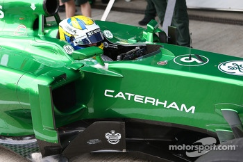 Marcus Ericsson, runs the Caterham CT04 for the first time - sidepod detail
