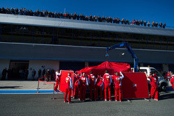 The Ferrari F14-T of Fernando Alonso, Ferrari is recovered back to the pits on the back of a truck