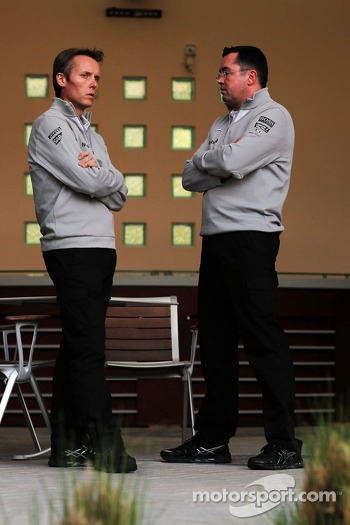(L to R): Sam Michael, McLaren Sporting Director with Eric Boullier, McLaren Racing Director