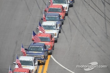 Chevrolet trucks lined up for drivers parade