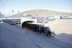 Hauler enters the track
