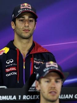 Daniel Ricciardo, Red Bull Racing and team mate Sebastian Vettel, Red Bull Racing in the FIA Press Conference
