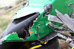 The damaged Caterham CT05 of Kamui Kobayashi, Caterham