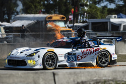 Major fire for the #33 Riley Motorsports SRT Viper GT3-R: Ben Keating