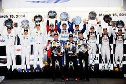 Class winners podium: P class winners Marino Franchitti, Memo Rojas, Scott Pruett, GTLM winners Patrick Long, Michael Christensen, Jörg Bergmeister, PC class winners Jon Bennett, Colin Braun, James Gue, GTD class winners John Potter, Andy Lally, Marco See