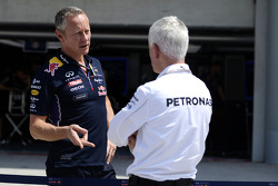 (L to R): Jonathan Wheatley, Red Bull Racing Team Manager with Geoff Willis, Mercedes AMG F1 Technology Director