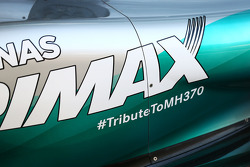 The Mercedes AMG F1 W05 carries a tribute to flight MH370
