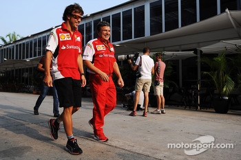 (L to R): Fernando Alonso, Ferrari with Fabrizio Borra, Physio