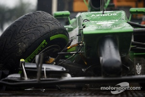 The Caterham CT05 of Marcus Ericsson, Caterham after he crashed in qualifying