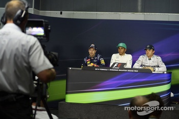 The post qualifying FIA Press Conference: Sebastian Vettel, Red Bull Racing, second; Lewis Hamilton, Mercedes AMG F1, pole position; Nico Rosberg, Mercedes AMG F1, third